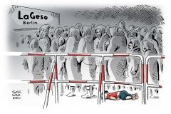 karikatur-schwarwel-lageso-berlin-syrien-kaelte-fluechtlinge
