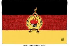 karikatur-schwarwel-flüchtlingsheim-brandanschlaug-flüchtlinge-national