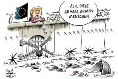 karikatur-schwarwel-merkel-mittelmeer-flüchtlinge-flüchtlingspolitik