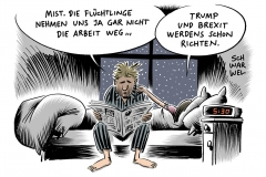 karikatur-schwarwel-fluechtlinge-gefluechtete-donald-trump-brexit-arbeitsmarkt