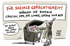 karikatur-schwarwel-soziale-gerechtigkeit-wahl-wahlen-wahlkampf-parteien-politik-deutschland-spd-cdu-csu-die-linke-die-gruene-spd-afd