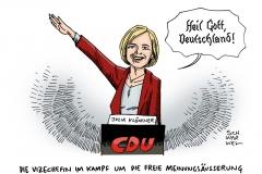schwarwel-karikatur-cdu-julia-kloeckner-hitlergruss
