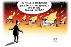 karikatur-schwarwel-rechter-terror-fluechtlinge-fluechtlingsheim-rechts-obergrenze