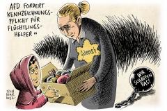 karikatur-schwarwel-gutmensch-flüchtlinge-afd-flüchtlingshelfer