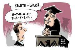 karikatur-schwarwel-rechte-straftaten-recht-gesetz-nazi-flüchtlinge