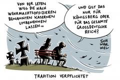 karikatur-schwarwel-von-der-leyen-bundeswehr-reform-umbenennung-kasernen-wehrmacht