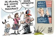 karikatur-schwarwel-orlando-trump-homophobie-waffen-terror