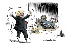 karikatur-schwarwel-donald-trump-diktatur-demokratie-us-usa-praesident-president