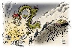 schwarwel-karikatur-boersendepression-boerse-aktie-feuerdrache-china