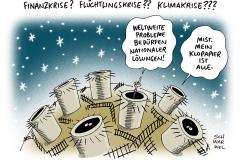karikatur-schwarwel-krise-flüchtlingskrise-finanzkrise-klimakrise