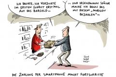 schwarwel-karikatur-bezahlen-smartphone-bargeld-bargeldlos