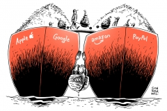 karikatur-schwarwel-apple-google-amazon-paypal