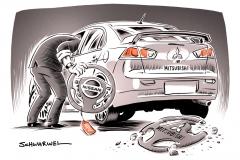 karikatur-schwarwel-mitsubishi-abgas-abgasskandal