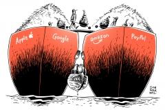 karikatur-schwarwel-apple-google-amazon-paypal