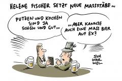 Prost: Helene Fischer trinkt vor Publikum eine Maß Bier auf ex