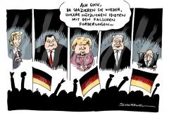 schwarwel-karikatur-regierung-opposition-idioten-demo-merkel
