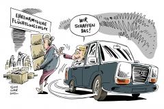 schwarwel-karikatur-ehrenamt-fluechtlinge-hilfe-merkel-allein-ehrenamt