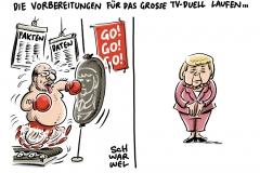 Schlagabtausch am Sonntag: Merkel und Schulz im TV-Duell