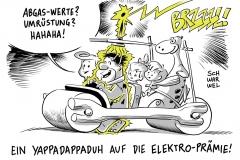 karikatur-schwarwel-elektroauto-auto-flintstones