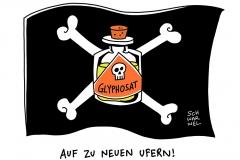karikatur-schwarwel-glyphosat-unkrautvernichtungsmittel