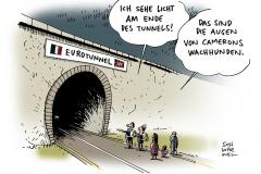 schwarwel-karikatur-eurotunnel-cameron-hunde-fluechtlinge-asylsuchende