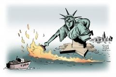 schwarwel-karikatur-islamisten-fluechtlinge-syrien-feiheitsstatue-usa