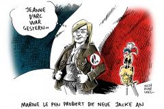karikatur-schwarwel-marine-le-pen-flagge-frankreich-rechts