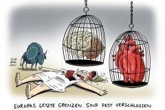 karikatur-schwarwel-flüchtlinge-europa-balkan-balkanroute-ungarn-grenze-eu