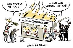 karikatur-schwarwel-is-islamisten-werbung-fluechltinge-gefluechtete-fluechtlingsheim-verfassungsschutz
