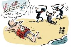 karikatur-schwarwel-burka-burkini-verbot-strand-frankreich-verschleierung-islam-muslima