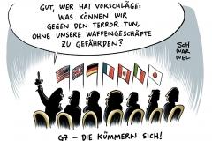 karikatur-schwarwel-g7-gipfel-waffen-waffengeschaefte-politik-politiker-aussenminister