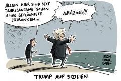 karikatur-schwarwel-taormina-donald-trump-praesident-sizilien-reise-fluechtlinge