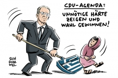 karikatur-schwarwel-de-maiziere-abschiebung-griechenland-fluechtlinge-politik-fluechtlingspolitik