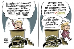 25 Jahre Anschlag von Solingen Merkel will Rassismus konsequent ahnden, Dieselkanzlerin Angela Merkel: Trotz erster Fahrverbote in Hamburg Kanzlerin weiter schützend vor Autoindustrie