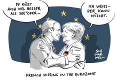 Macron bei Merkel: Sie braucht ihn, er wartet auf Antworten
