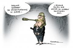 schwarwel-karikatur-merkel-russland-friedensordnung