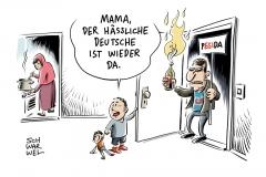 karikatur-schwarwel-afd-pegida-rechtsextrem-flüchtlinge-studie