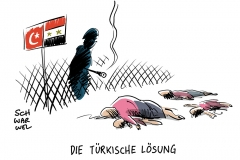 karikatur-schwarwel-syrien-türkei-flüchtlinge-flüchtlingskrise
