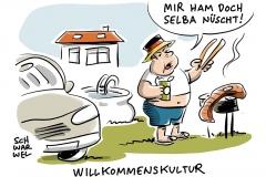 karikatur-schwarwel-willkommen-willkommenskultur-flüchtlinge