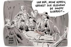 karikatur-schwarwel-innere-sicherheit-de-maiziere-fluechtlingspolitik-angst-ueberwachung