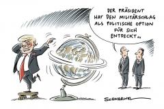 karikatur-schwarwel-donald-trump-krieg-militaerschlag-syrien-nordkorea