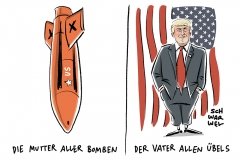karikatur-schwarwel-trump-angriff-afghanistan-mutter-aller-bomben