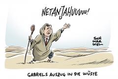 karikatur-schwarwel-sigmar-gabriel-netanjahu-israel-staatsbesuch