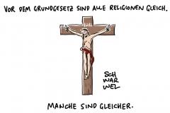 Gott und Staat im Streit um Bayerns Kruzifixe: Vor Grundgesetz sind alle Religionen und Weltanschauungen gleich