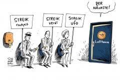 schwarwel-karikatur-streik-lufthansa-verdi-cockpit