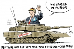 karikatur-schwarwel-ruestung-deutschland-ruestungsexport-waffenexport-friedensnobelpreis