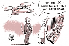 karikatur-schwarwel-amazon-online-handel-onlinehaendler-lieferdienst